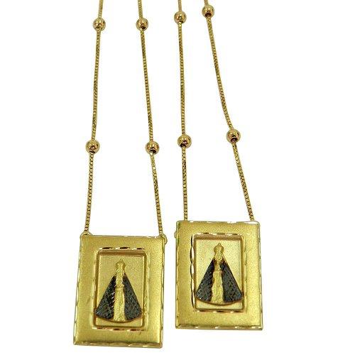 Escapulário Retangular em ouro com a Imagem de N.S.Aparecida