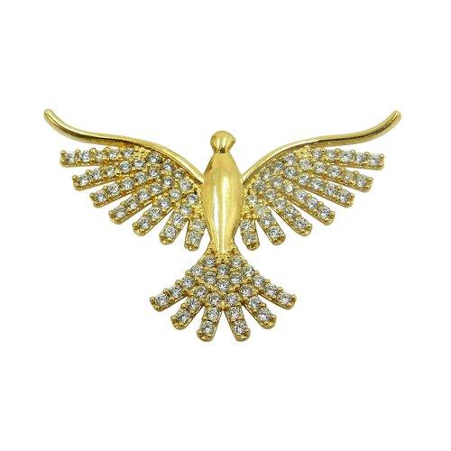 Pingente em Ouro 18k Pomba do Divino Espírito Santo com Zircônias
