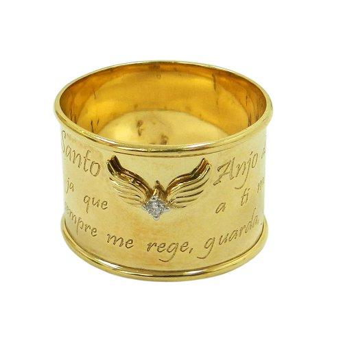 Anel em ouro 18k Largo Oração Anjo do Senhor com Brilhante