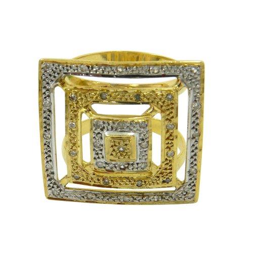 Anel em Ouro 18k Quadrado Grande com Brilhantes