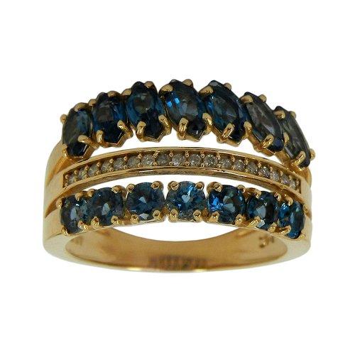Anel em Ouro 18k Rosê com Diamantes e Topázio Azul
