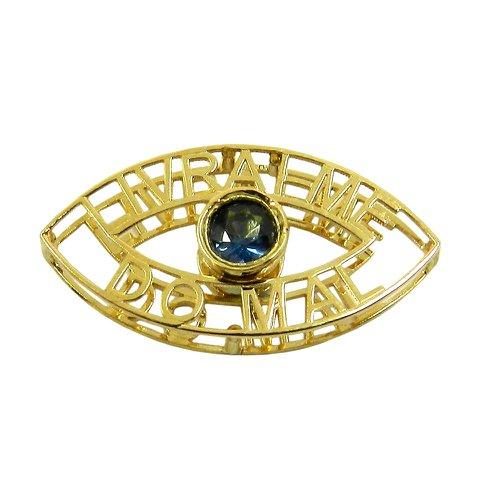 Pingente Olho Grego Vazado de Ouro 18k com Safira