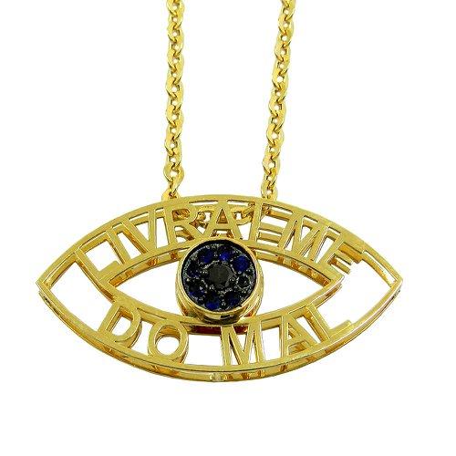 Pingente Olho Grego Vazado de Ouro 18k com Safiras