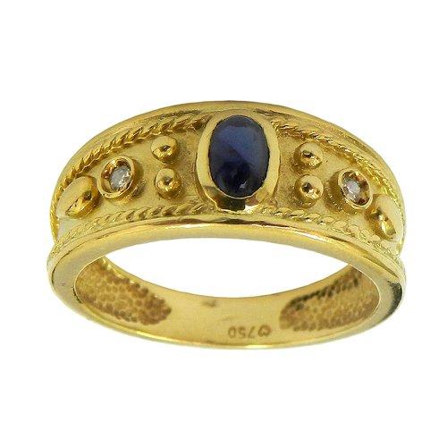 Anel em Ouro 18k com Safira Azul e Brilhantes