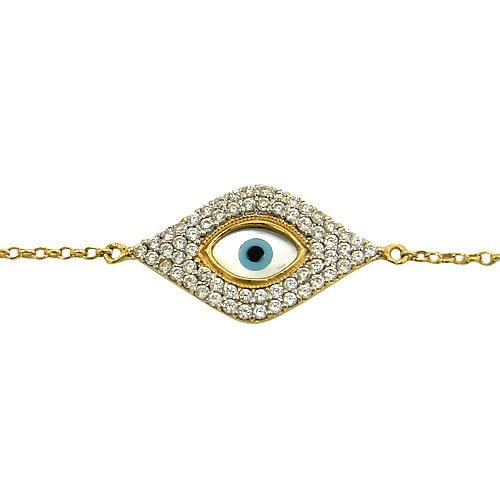 Pulseira de Ouro 18k com Zircônia Olho Grego