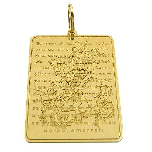 Medalha com Oração de São Jorge em Ouro 18K