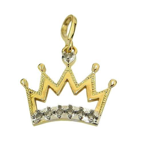 Pingente Coroa Ouro 18K cravejado com 7 Diamantes