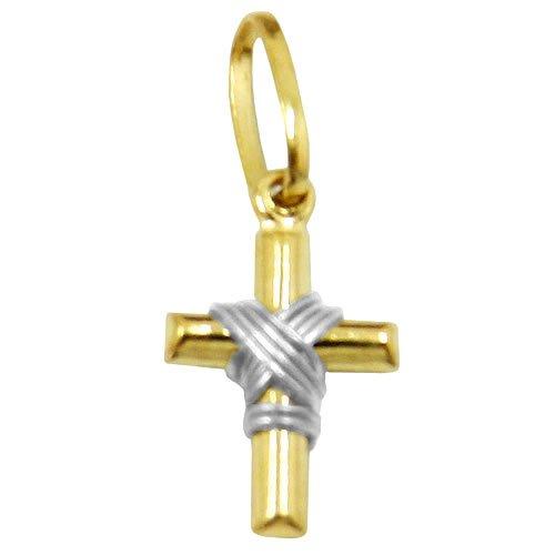 Cruz em Ouro com Nó em ouro Branco P
