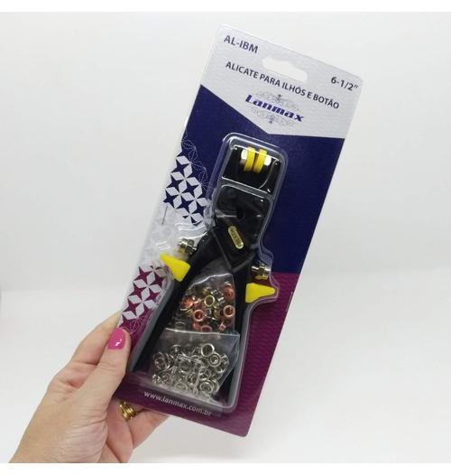 Alicate para aplicar ilhós e botão de metal