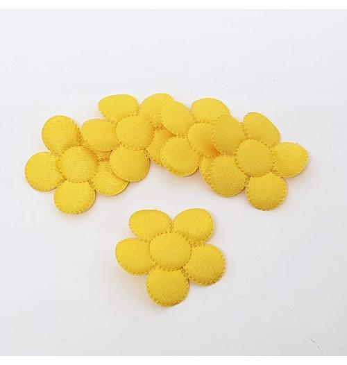 Aplique Flor M Cetim Amarelo (pacote com 5 unidades)