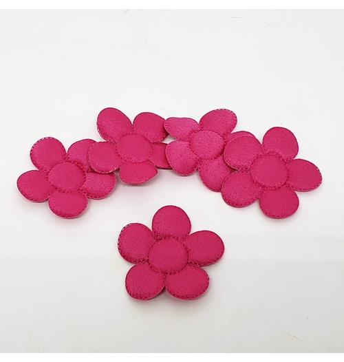 Aplique Flor M Cetim Pink (pacote com 5 unidades)