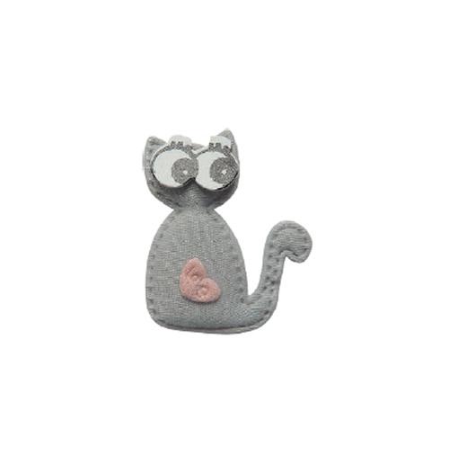 Aplique Luxo Gato Love - Cinza (pacote com 5 unidades)