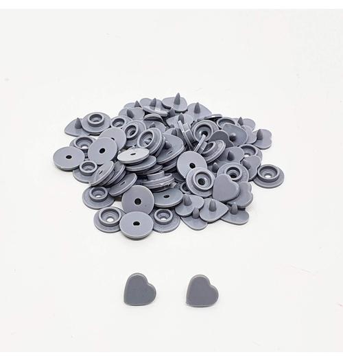 Botão de Pressão de Coração n°10 - Cinza claro (com 50 jogos)