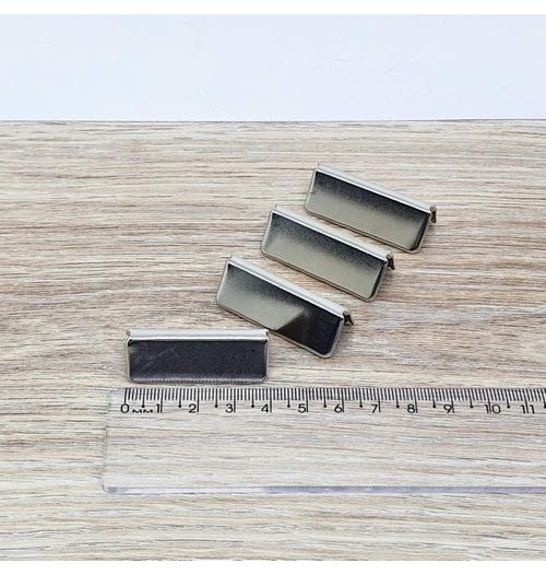 Ponteira LARGA de metal 4cm - Niquelada (pacte com 4 unidades)