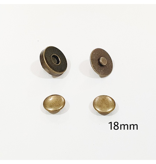Botão de ímã DUPLO com rebite 18mm - Ouro Velho (pacte com 5 jogos)