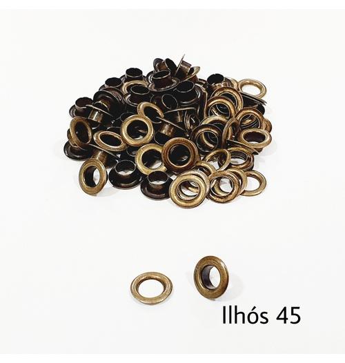 Ilhós com arruela n° 45 - Ouro Velho (pacte 50 unidades de cada)
