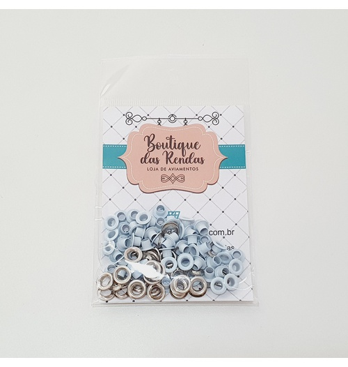 Ilhós n° 54 colorido de alumínio com arruela - Azul claro (pacte 50 unidades de cada)