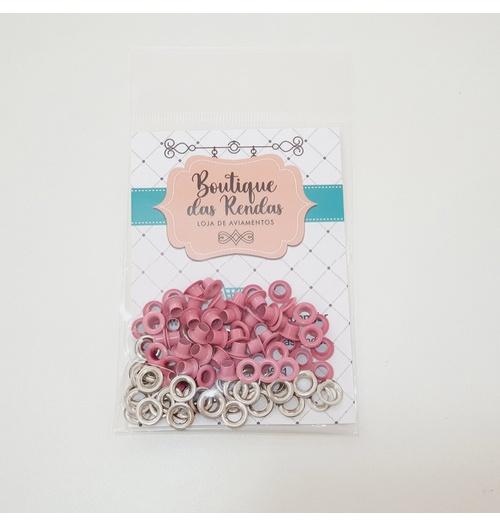 Ilhós n° 54 colorido de alumínio com arruela - Pink (pacte 50 unidades de cada)