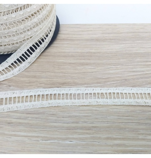 Renda Ponto Palito 22mm - Palha (pacte com 3 mts)