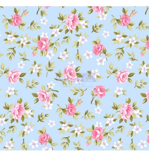 Tecido Tricoline Floral Lúcia - Azul com Rosa