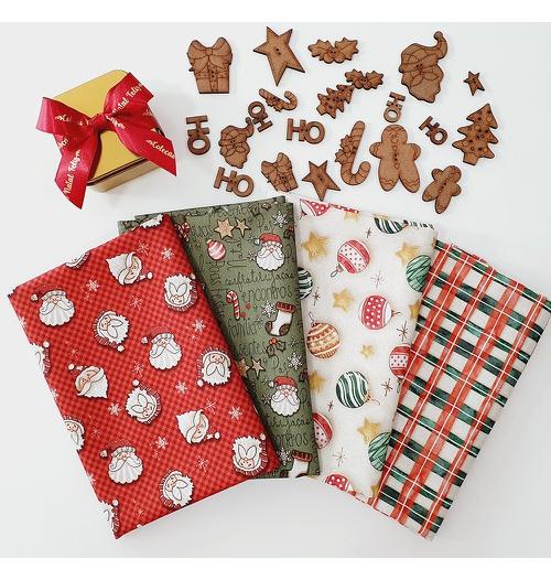 KIT tecido Natal 50 x 75 cm + Botões de MDF