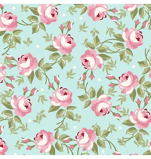 Tecido Tricoline Floral Fadas - Tiffany