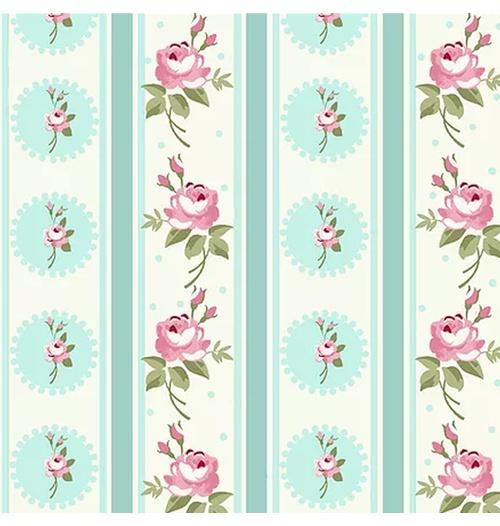 Tecido Tricoline Listras Florais Fadas - Tiffany