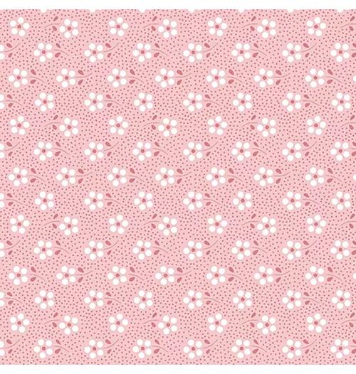 Tecido Tricoline Mini Primavera - Rosa
