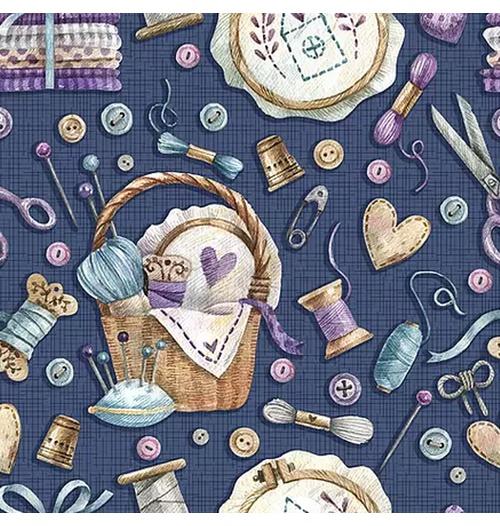 Tecido Digital Ítens de Costura - Marinho