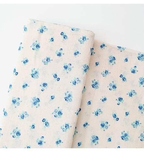 Tecido Cambraia de Linho Floral - Azul