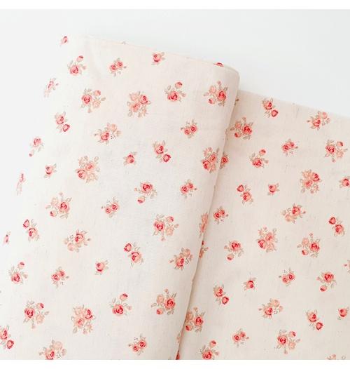 Tecido Cambraia de Linho Floral - Coral