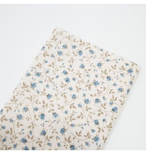 Tecido Linho Misto Estampado - Floral Azul miúdo