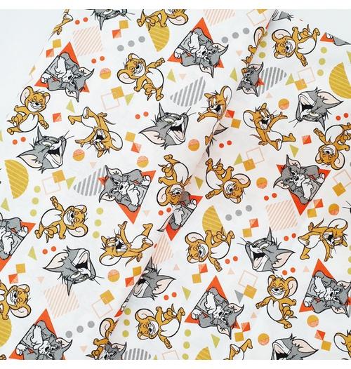 Tecido Tricoline Tom Jerry brincando laranja