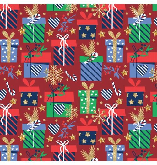 Tecido Tricoline 100% algodão Presentes fundo vermelho - (Natal)