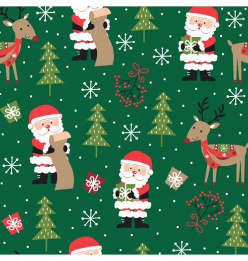 Tecido Tricoline 100% algodão Papai Noel e Rena fundo verde - (Natal)