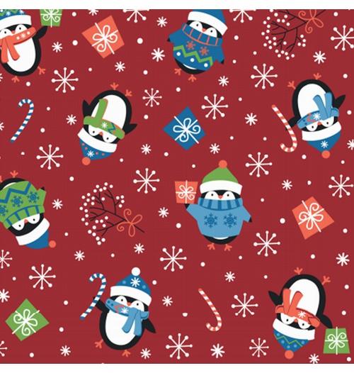 Tecido Tricoline 100% algodão Pinguim fundo vermelho - (Natal)