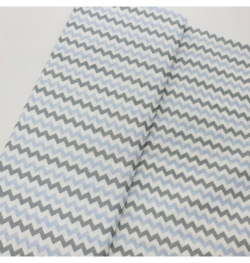 Tecido Tricoline Chevron médio - Azul e cinza