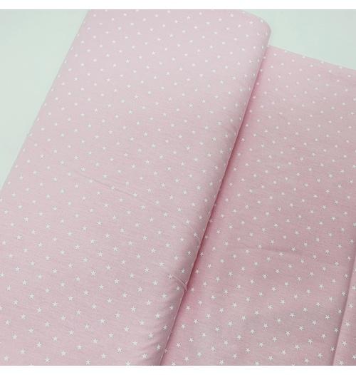 Tecido Tricoline Estrelinhas - Rosa suave