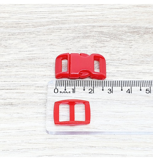 Fecho de engate rápido plástico 10mm - VERMELHOR (10 unidades mesma cor)