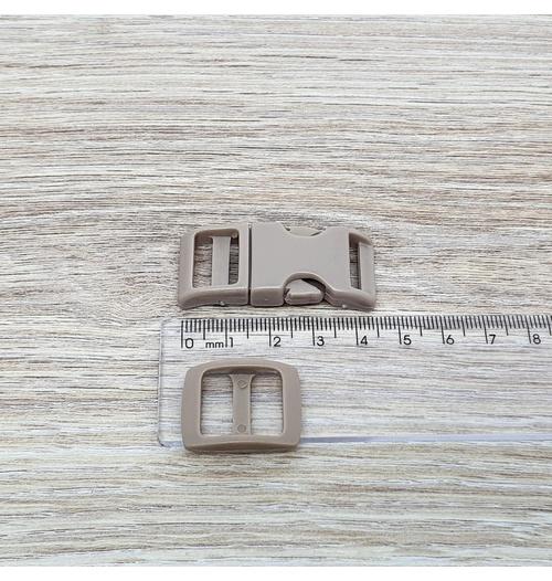 Fecho de engate rápido plástico 15mm - BEGE (10 unidades mesma cor)