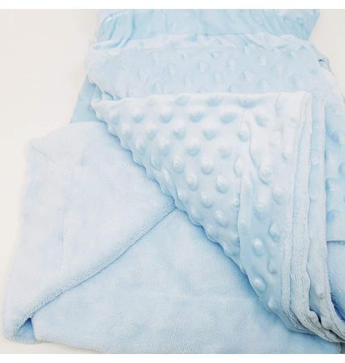 Manta cobertor de plush Sweet Baby de bolinha - Azul