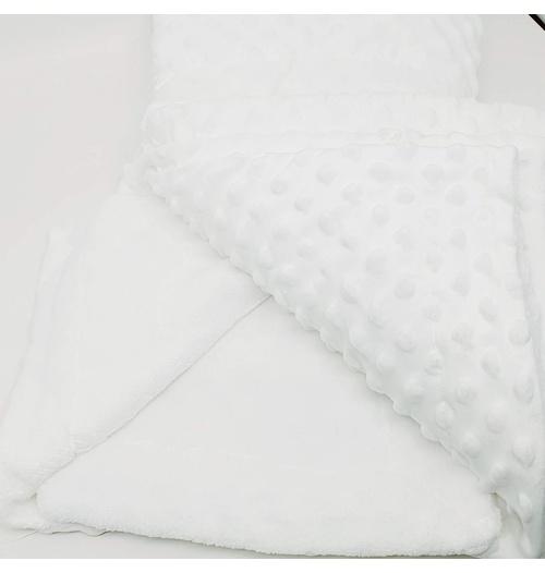 Manta cobertor de plush Sweet Baby de bolinha - Branca
