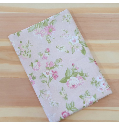 Tecido Tricoline Floral Médio Rosa - (0,50cm x 1,50mt)