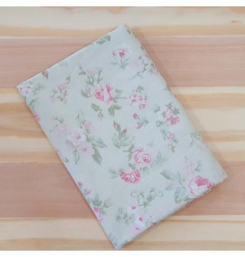 Tecido Tricoline Floral Médio Verde e Rosa - (0,50cm x 1,50mt)