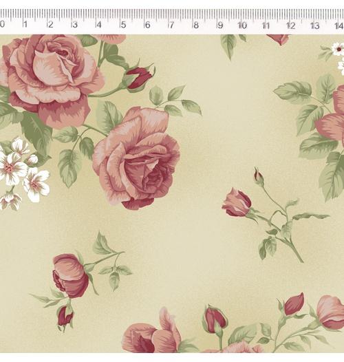 Tecido Tricoline Floral Rosê grande fundo bege - (0,50cm x 1,50mt)