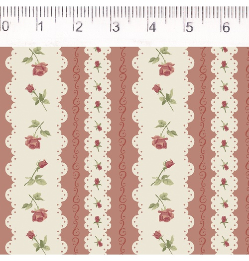 Tecido Tricoline Listrado Vermelho com Flor - (0,50cm x 1,50mt)