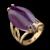 Anel Folheado à Ouro com Pedra Natural Navete