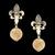 Brinco Folheado à Ouro com Pedra Natural Cristal Rutilado