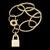 Pulseira folheada a ouro,com pingente cadeado