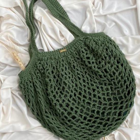 Bolsa Redonda de Crochê Verde
